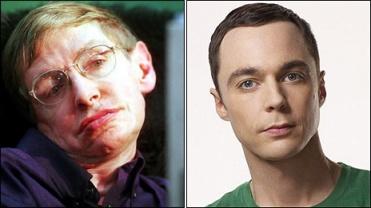 "Professor Stephen Hawking & ""The Big Bang Theory"" cast member Jim Parsons, who plays Sheldon pic: bbc.co.uk"