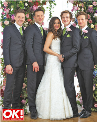 Newlyweds Tom and Giovanna with the boys from McFly