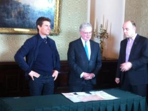 Tom Cruise getting his Irish heritage certificate from Eamon Gilmore this morning